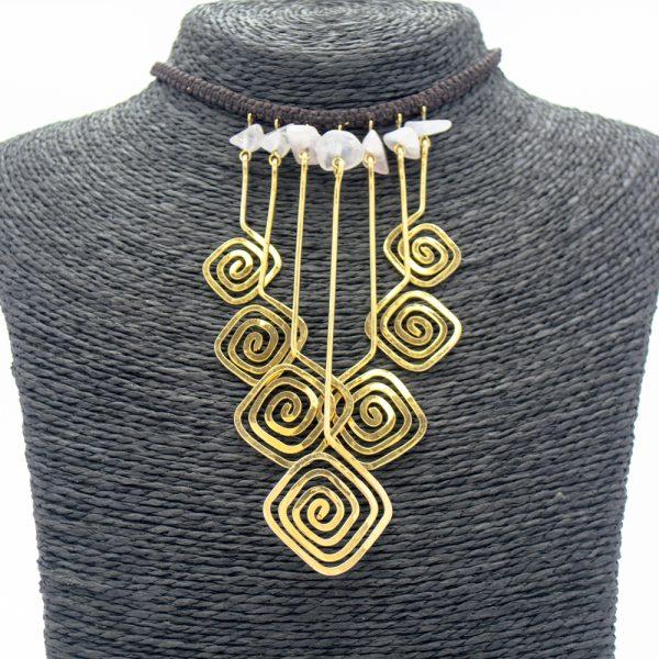 Collar Piedras & Baño Oro
