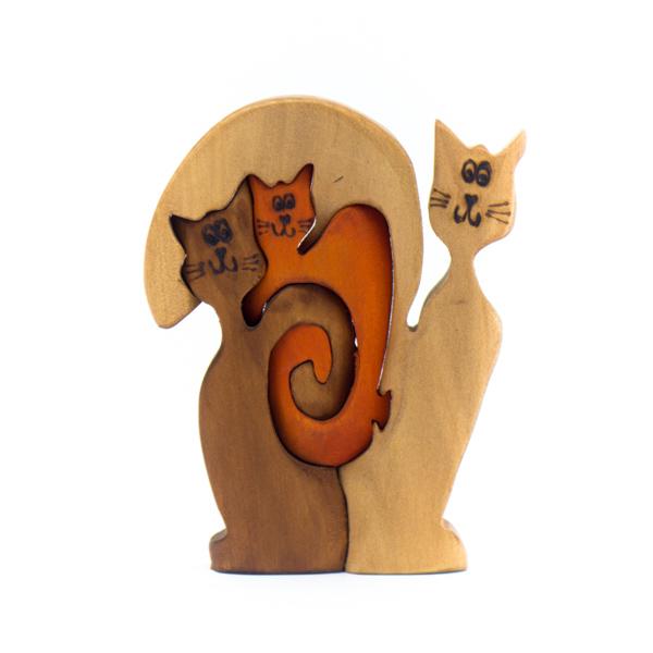 Gatos Madera Tallada X3 decorativos