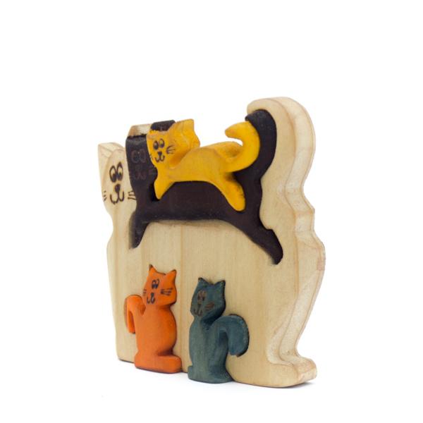 Gatos Madera Tallada X5 decorativos