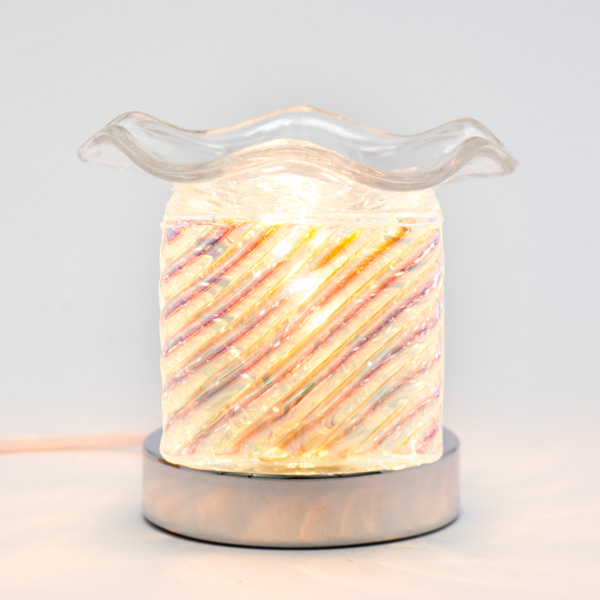 Lámpara Pebetero Cubo Rayas + Esencia