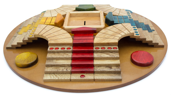 Juego de Mesa Parqués 3D Madera Artesanal 4 Puestos