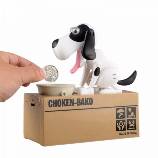 Alcancía Perrito Traga Monedas Robot - Blanco & Negro: