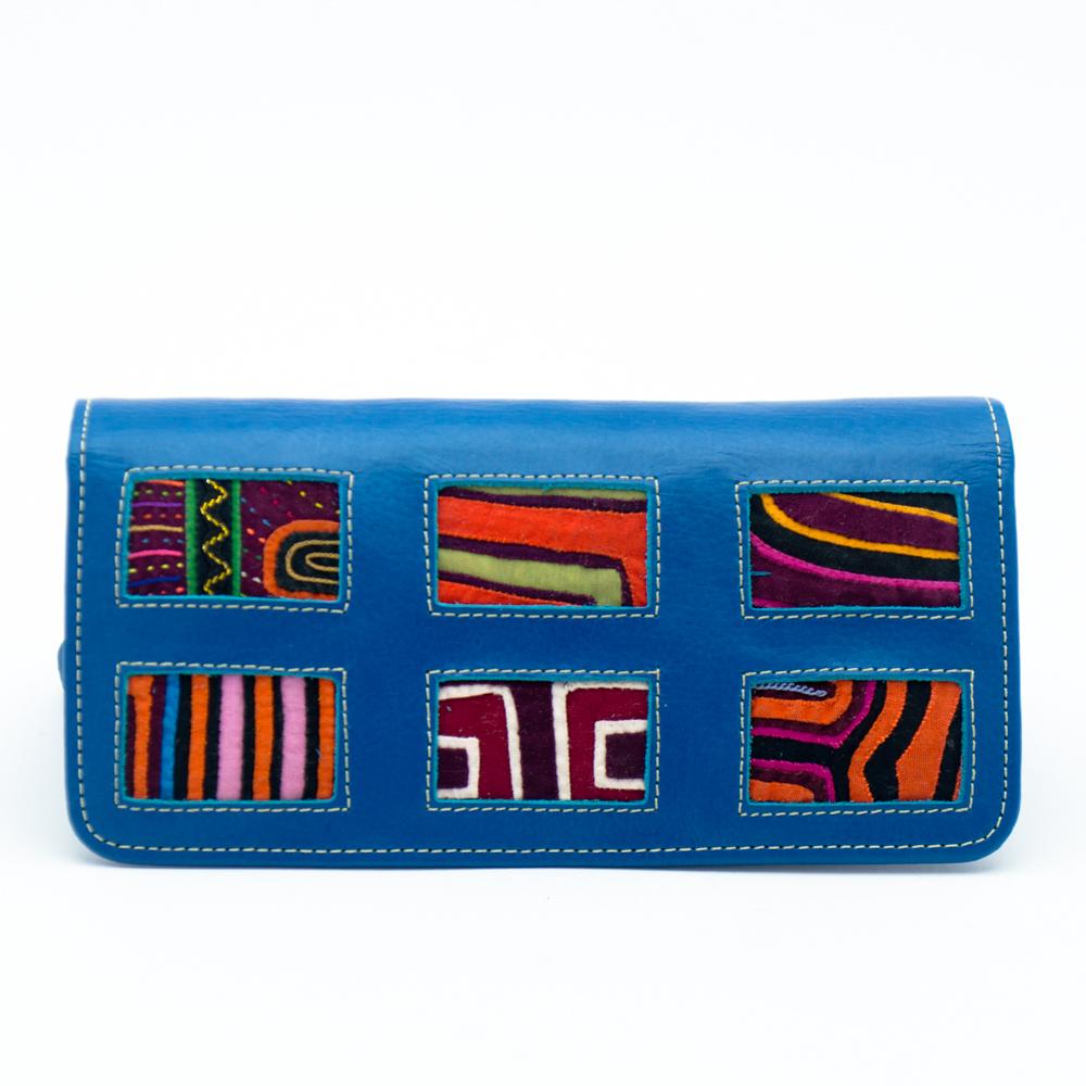 Billetera Dama Mola Cuero Azul