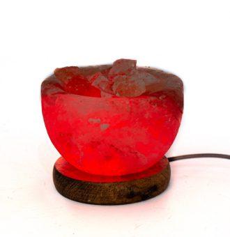 Lámpara de Sal del Himalaya USB Tazón & Roca Natural - Base Madera + LED 7 Colores