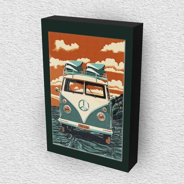 Cuadro Decorativo Van Combi Vintage en Madera