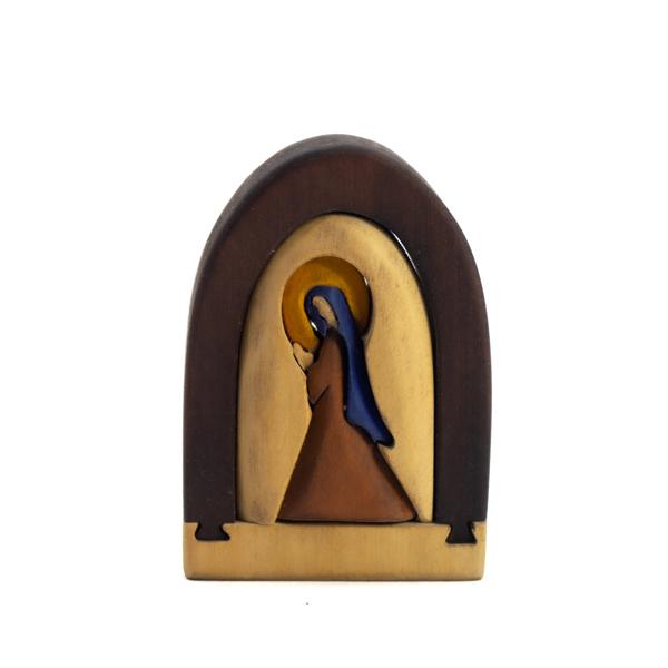 Mini Virgen en Madera Tallada Rompecabeza
