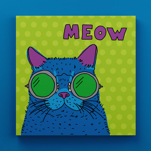 Cuadro Madera Gato Meow Decorativo 30x30 cm