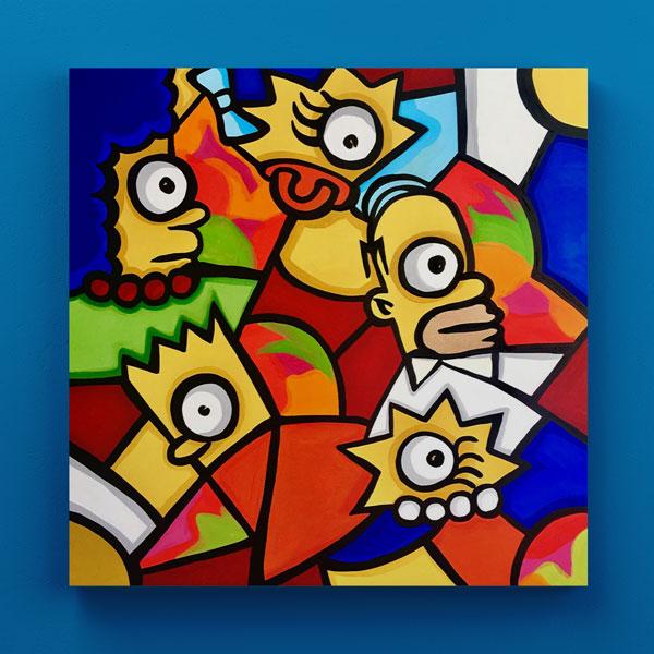 Cuadro Decorativo Simpsons Abstracto en Madera 30X30 CM