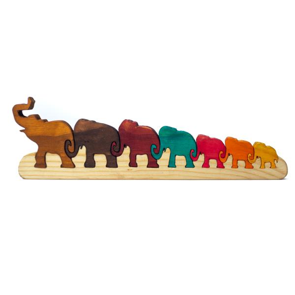 Familia Elefante Cadena en Madera Tallada
