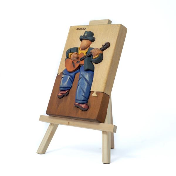 Cuadro Caballete Guitarrista Madera Tallada