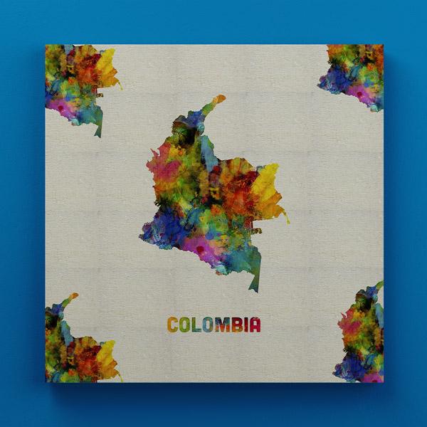 Cuadro Decorativo de Colombia 30x30x3.3 cms en Madera
